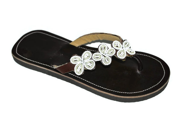 womens leather beaded sandals white daisy handmade africa fair trade