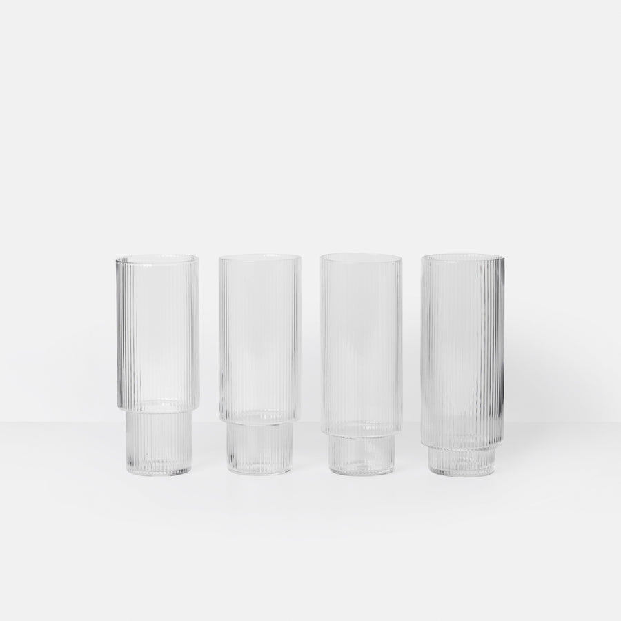 Ferm Living Ripple Long Drink Glasses Set of 4 Clear