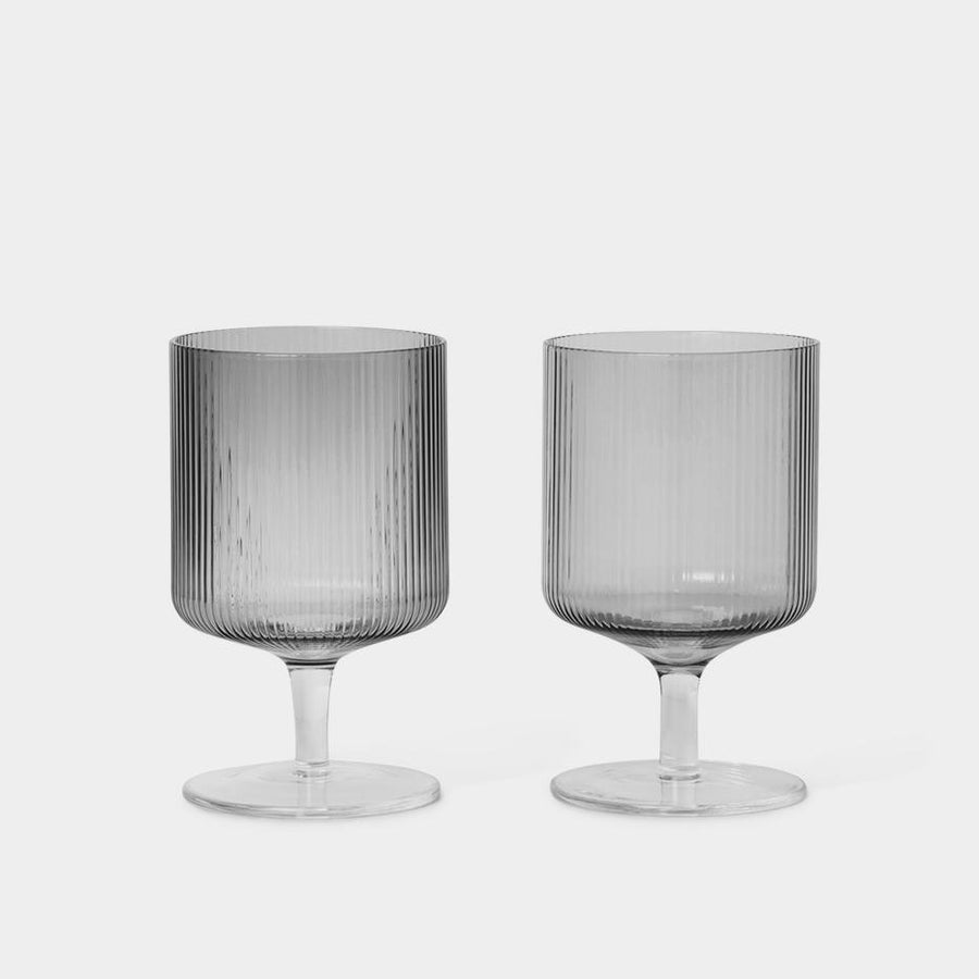 Ferm Living Ripple Wine Glasses - Set of 2 Clear