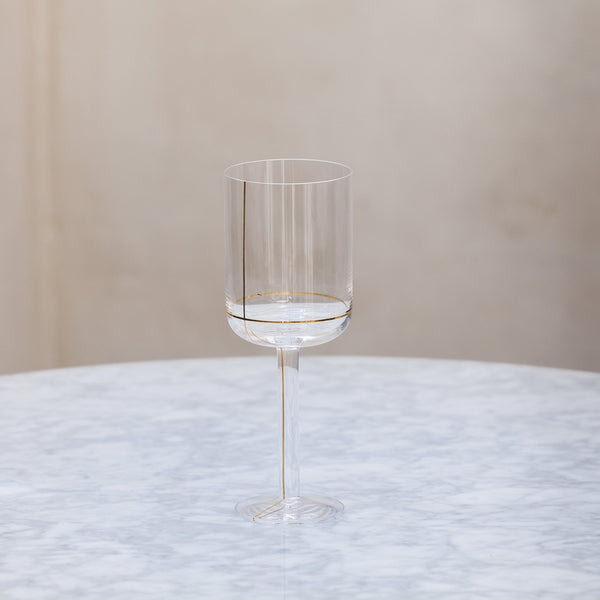 HAY Colour Glass Gold Line Wine Glass small