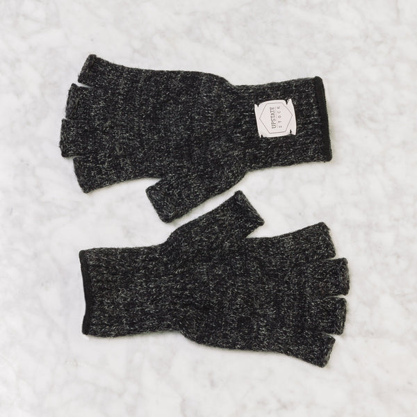 Upstate Stock Fingerless Ragg Wool Glove Small / Black Melange
