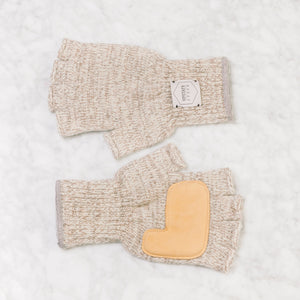 Upstate Stock Fingerless Ragg Wool Glove With Deerskin Palm Large / Oatmeal Melange