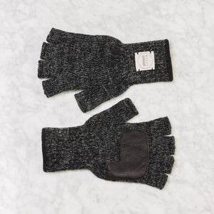 Upstate Stock Small / Black Melange Fingerless Ragg Wool Glove With Deerskin Palm