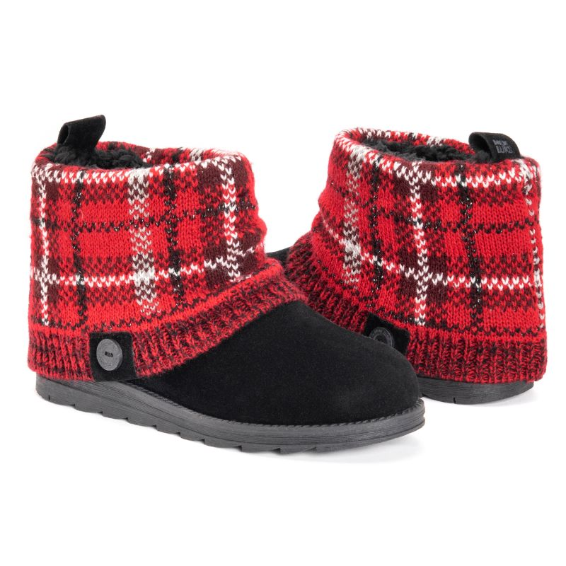 Women's Patti Boots by Muk Luks-Red Plaid-10-Daily Steals