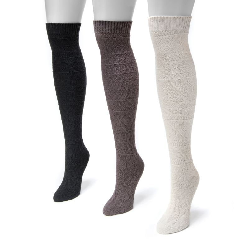 Women's Snowflake Knee High Socks by Muk Luks - 3 Pack-Daily Steals