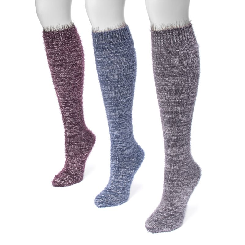 Women's Feather Yarn Knee High Socks by Muk Luks - 3 Pack-Jewel-Daily Steals