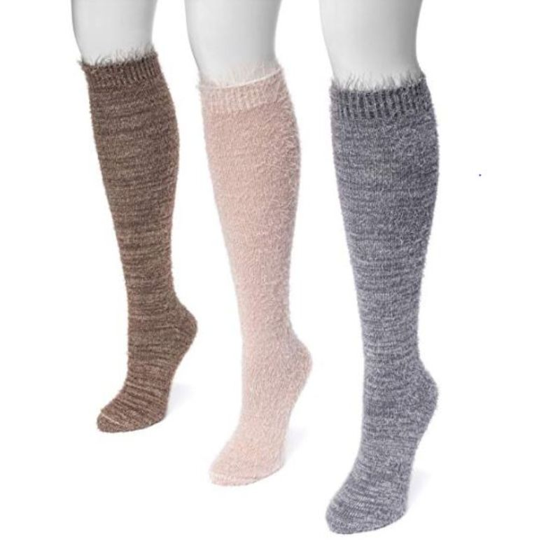 Women's Feather Yarn Knee High Socks by Muk Luks - 3 Pack-Soft-Daily Steals