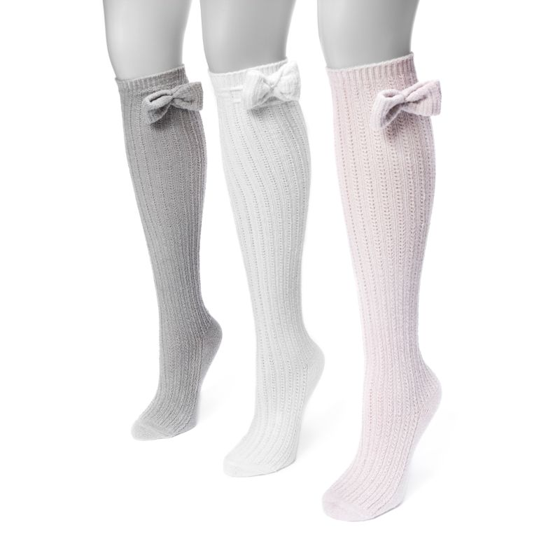 Women's Pointelle Bow Knee High Socks by Muk Luks - 3 Pack-Neutral-Daily Steals