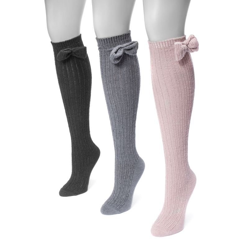 Women's Pointelle Bow Knee High Socks by Muk Luks - 3 Pack-Fashion-Daily Steals