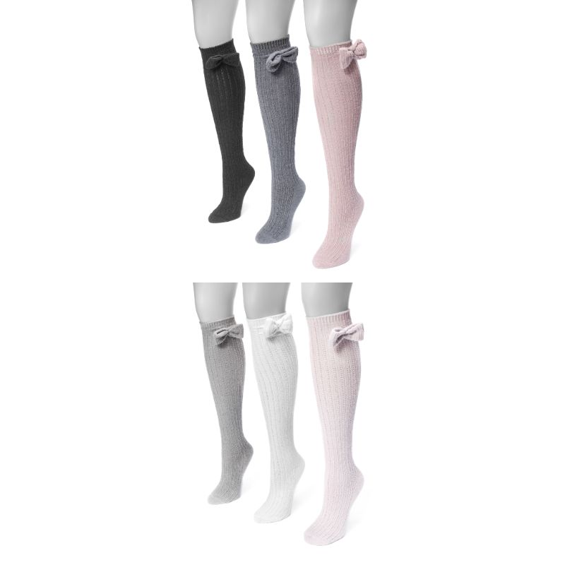 Women's Pointelle Bow Knee High Socks by Muk Luks - 3 Pack-Daily Steals