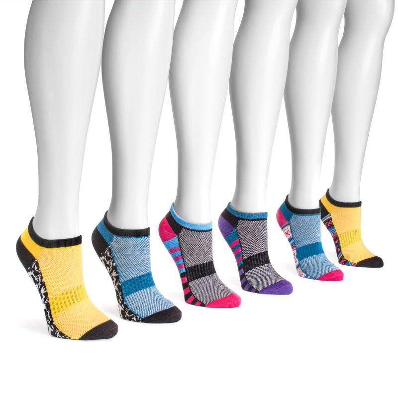 Women's No Show Compression Arch Socks by Muk Luks - 6 Pack-Vibrant-Daily Steals
