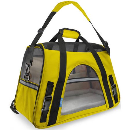 OxGord Soft Sided Cat/Dog Pet Carrier - FAA Airline Approved-Yellow-Small-Daily Steals