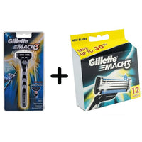 Gillette Mach3 Razor Handle + Refill Blade Cartridges for Men, 12 Count