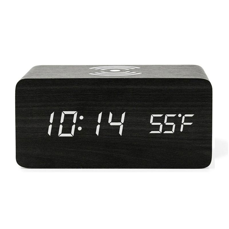 Bamboo Digital LED Alarm Clock, Thermometer & Wireless Charger-Black-Daily Steals