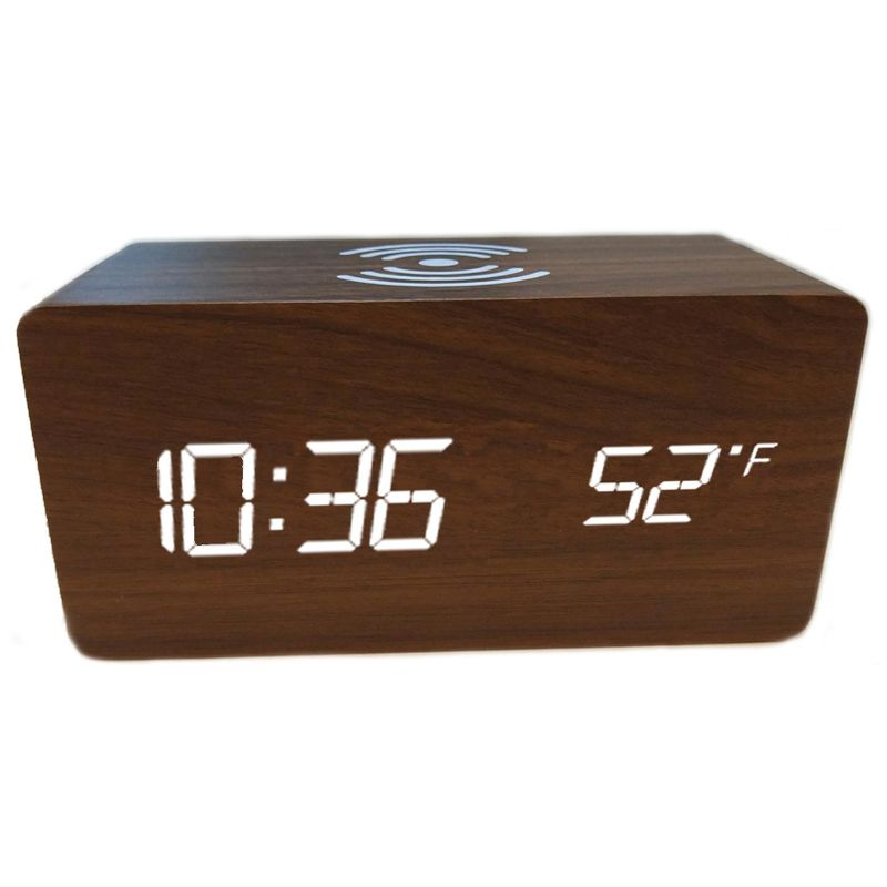 Bamboo Digital LED Alarm Clock, Thermometer & Wireless Charger-Brown-Daily Steals