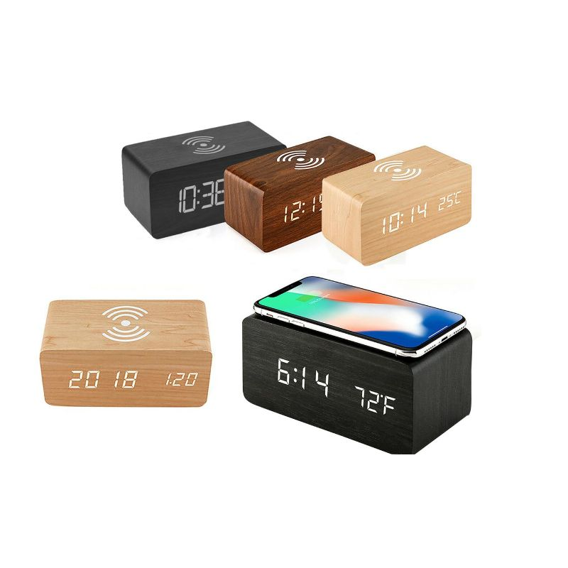 Bamboo Digital LED Alarm Clock, Thermometer & Wireless Charger-Daily Steals