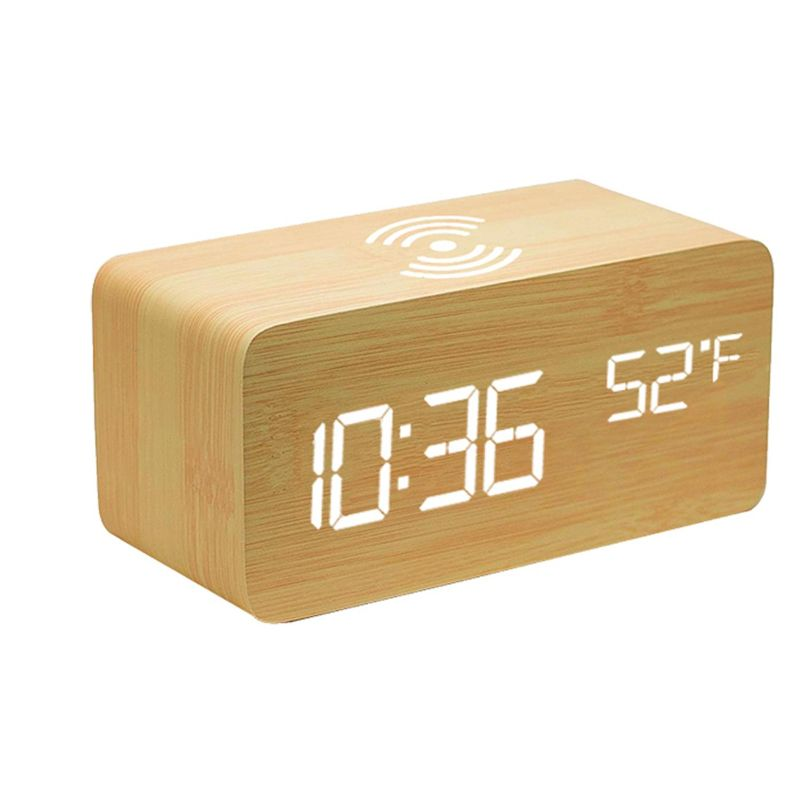 Bamboo Digital LED Alarm Clock, Thermometer & Wireless Charger-Wood-Daily Steals