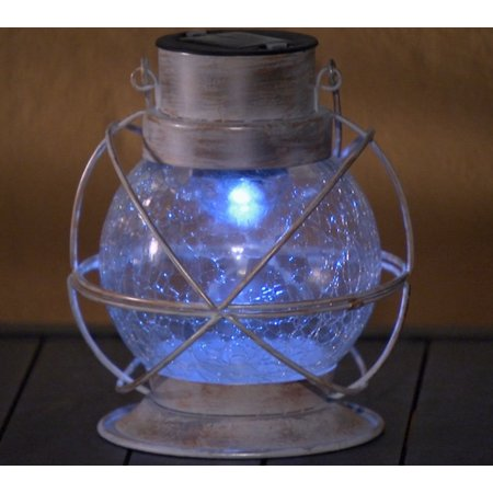 Daily Steals-Compass Home Solar Color Changing Crackle Glass Lantern-Outdoors and Tactical-