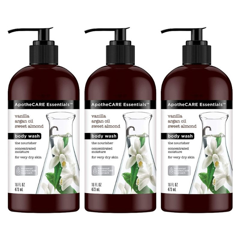 ApotheCARE Essentials The Nourisher Body Wash, Vanilla, Argan Oil, Sweet Almond, 16 oz - 3 Pack