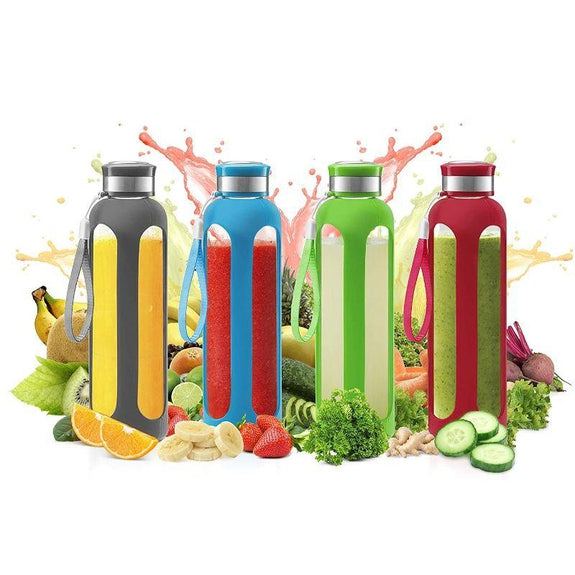SWIG SAVVY Glass Water Bottle With Protective Silicone Sleeve & Leak Proof Lid-Daily Steals