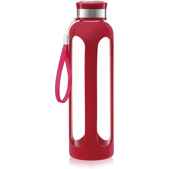 SWIG SAVVY Glass Water Bottle With Protective Silicone Sleeve & Leak Proof Lid-Red-Daily Steals
