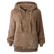 Sweat-shirt à capuche en peluche-Kaki-Small-Daily Steals