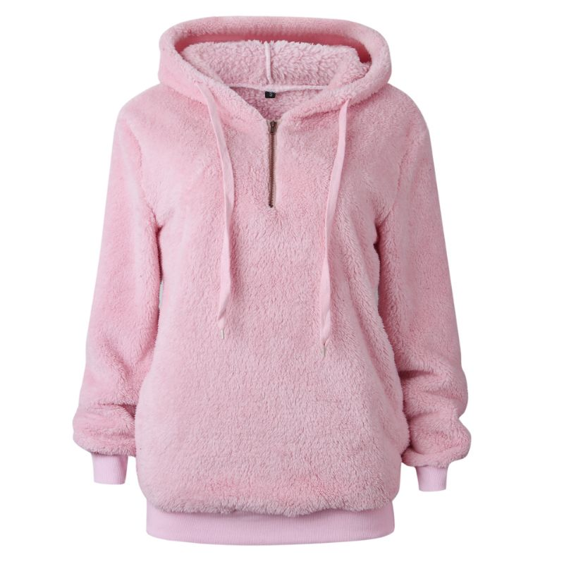 Plush Pullover Hoodie-Pink-Small-Daily Steals
