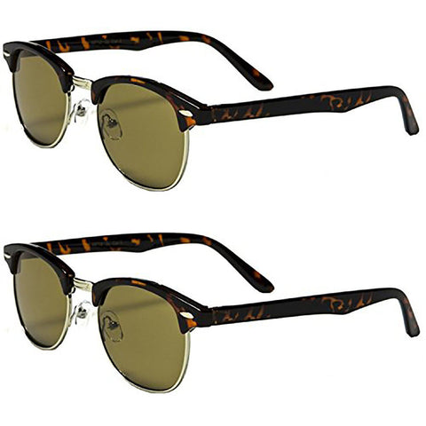 Daily Steals-[2-Pack] Special Edition Elegant Clubmaster Sunglasses with 2 FREE Microfiber Pouches-Accessories-2 Tortoise-