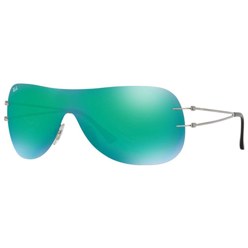 2391881a05995 Daily Steals-Ray-Ban Unisex Sheild Sunglasses RB8057 159 3R Silver Frame  Green