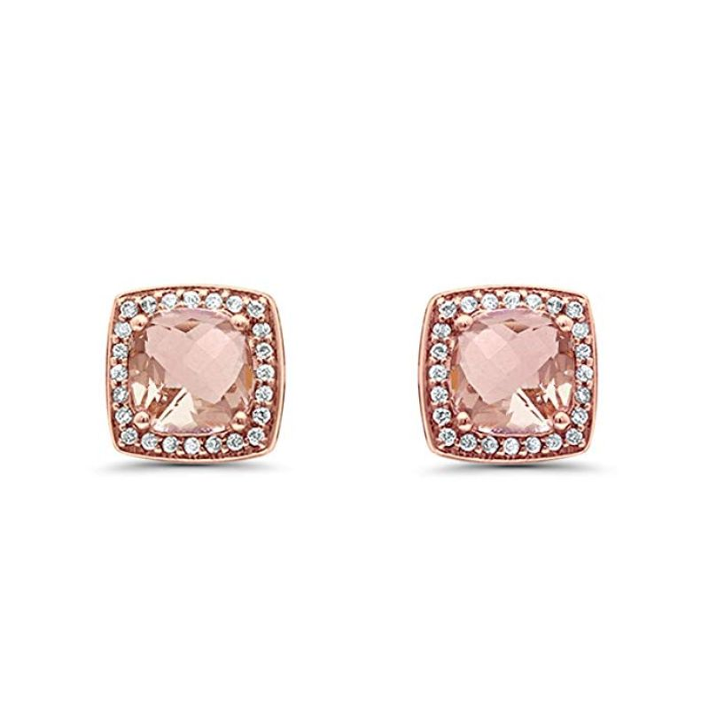 1.85CTTW Morganite Pav'e Classic Cushion-Cut Stud Earrings in 14K Rose Gold-Daily Steals