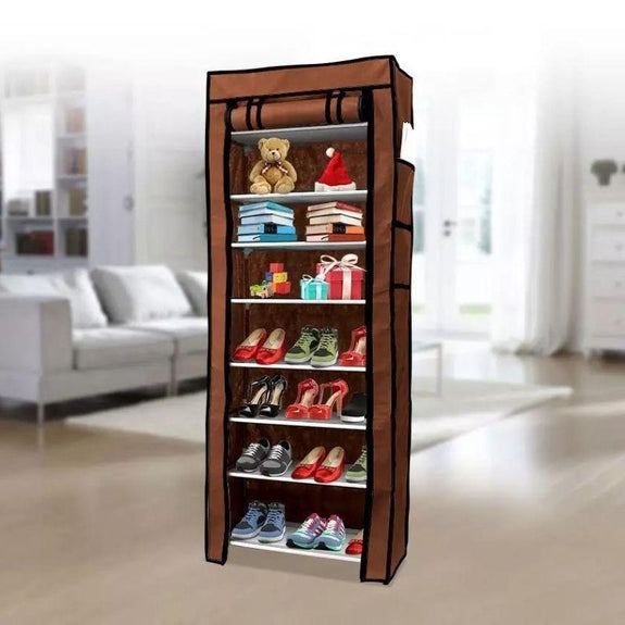 10-Tier 27 Pair Shoe Tower Rack with Cover-Brown-
