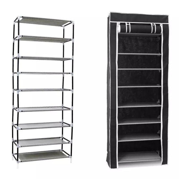 10-Tier 27 Pair Shoe Tower Rack with Cover-Black-