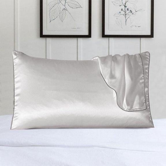 100% Silk Pillow Cover With Trim-White-Daily Steals