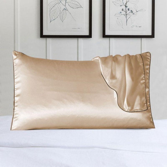 100% Silk Pillow Cover With Trim-Beige-Daily Steals