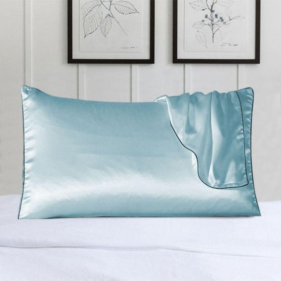100% Silk Pillow Cover With Trim-Blue-Daily Steals