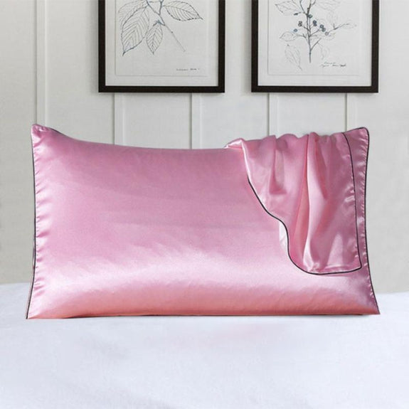 100% Silk Pillow Cover With Trim-Pink-Daily Steals