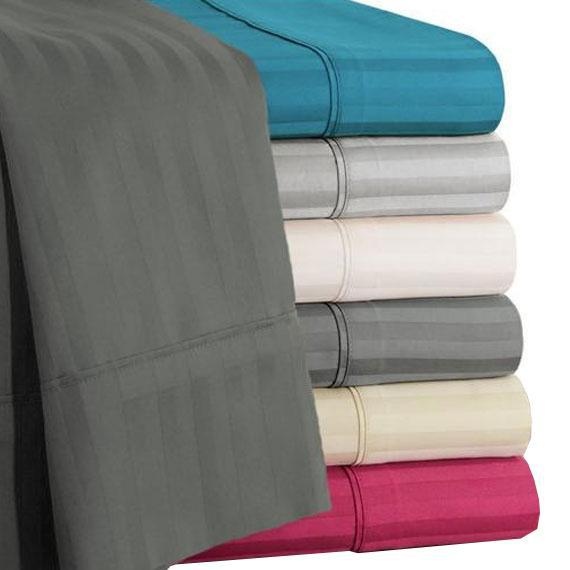 Damask Stripe 600 Thread Count 100% Egyptian Cotton 6 Piece Sheet Set-Daily Steals