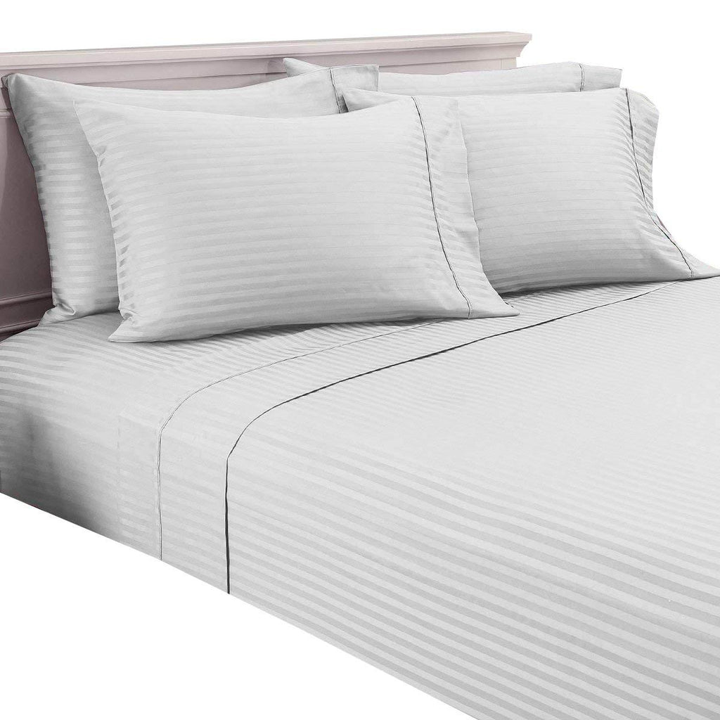 Damask Stripe 600 Thread Count 100% Egyptian Cotton 6 Piece Sheet Set-White-Full-Daily Steals