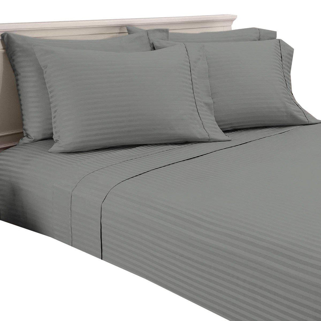 Damask Stripe 600 Thread Count 100% Egyptian Cotton 6 Piece Sheet Set-Grey-Twin-Daily Steals