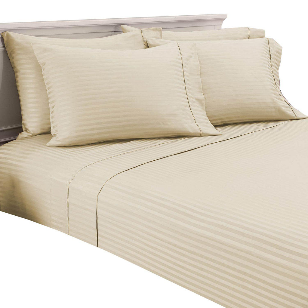 Damask Stripe 600 Thread Count 100% Egyptian Cotton 6 Piece Sheet Set-Ivory-Full-Daily Steals