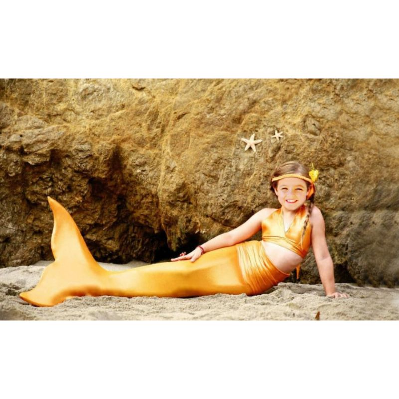 Girls' 3-Piece Solid Mermaid Swimsuit-Orange-L-Daily Steals