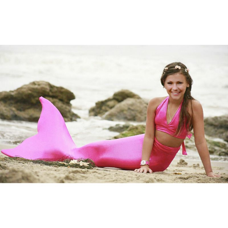Girls' 3-Piece Solid Mermaid Swimsuit-Pink-M-Daily Steals