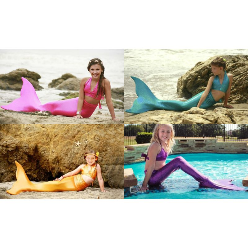 Girls' 3-Piece Solid Mermaid Swimsuit-Daily Steals