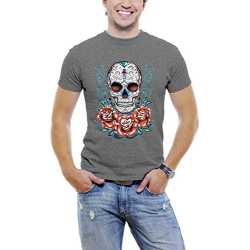 Skull Roses Tattoo - Men's T-Shirt-Dark Grey-3XL-Daily Steals