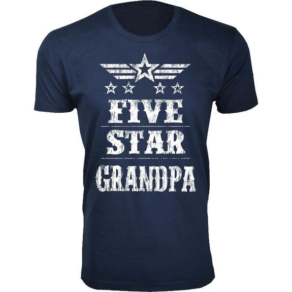 Men's Five Star Father's Day T-shirts-Grandpa - Navy-S-Daily Steals