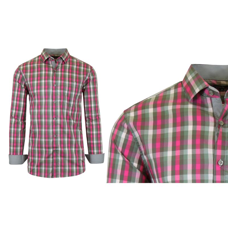 Mens Quick Dry Performance Stretch Dress Shirts-Pink/Olive-Small-Daily Steals