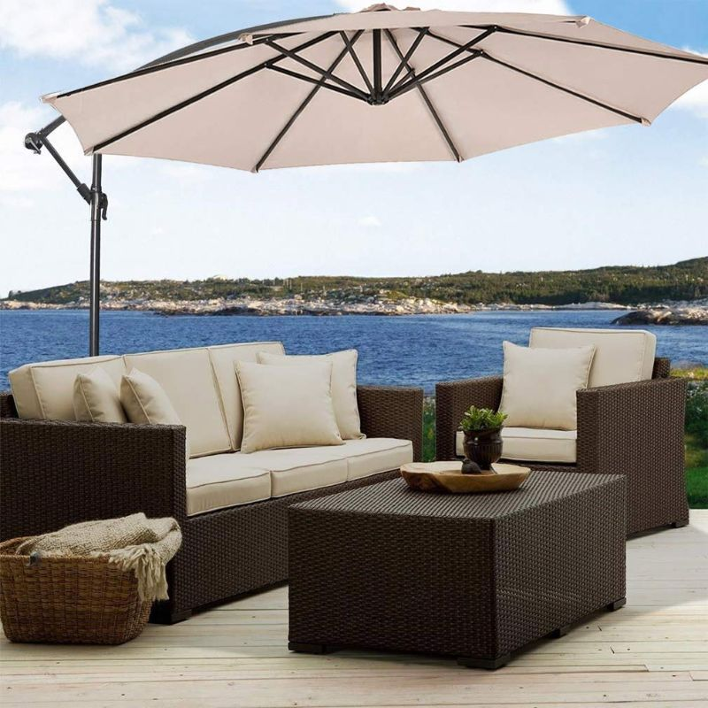10' Cantilever Offset Patio Umbrella-Beige-Daily Steals