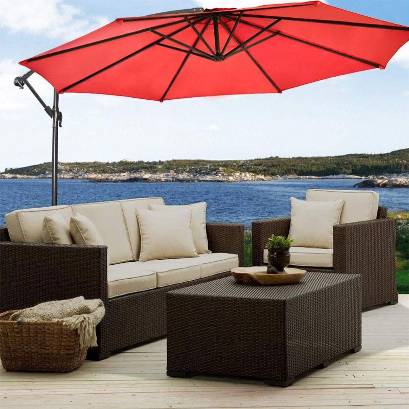10' Cantilever Offset Patio Umbrella-Red-Daily Steals