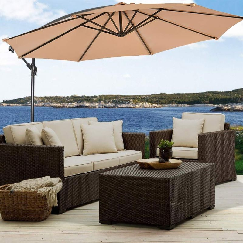 10' Cantilever Offset Patio Umbrella-Tan-Daily Steals
