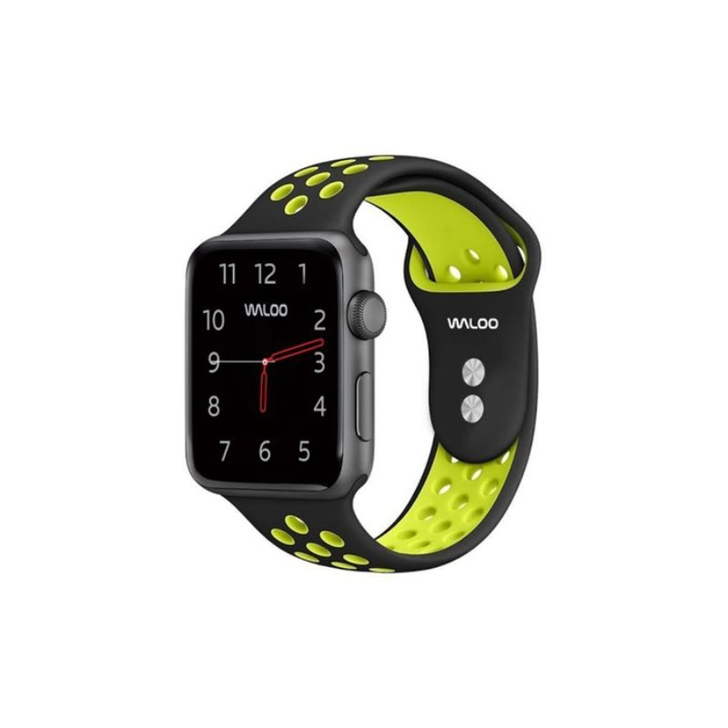 Waloo Breathable Sports Band For Apple Watch Series 1-5-Black/Yellow-38/40mm-Daily Steals
